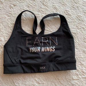"VSX ""Earn your Wings"" black sports Bra size Small"